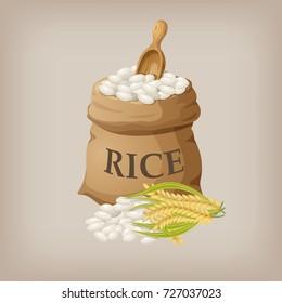 White rice in small burlap sack. Vector illustration