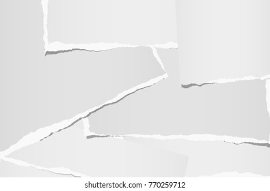 White ripped note, notebook stacked paper background