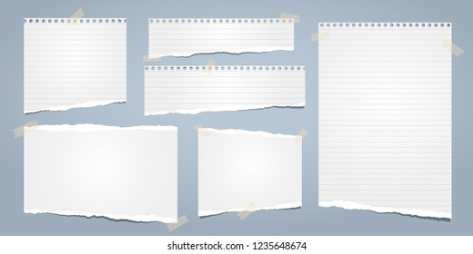 White ripped notebook paper, torn lined note paper for text or message stuck on blue background. Vector illustration