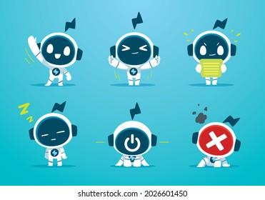 white robot character mascot basic action set