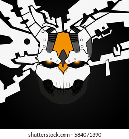 White robot head.Abstract skull.Black background.Future technology.Cyborg.Detailed