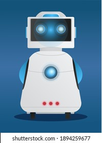 White robot with a square head vector illustration standing full length against blue background. Science machine on wheels with electronic computer control. Cyborg alien with luminous elements. Ai