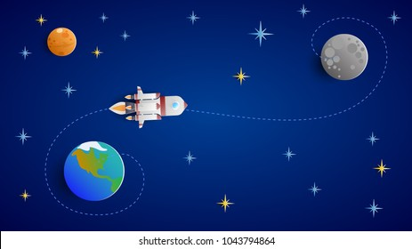 A white rocket flies to the moon. Blue sky with stars and planets