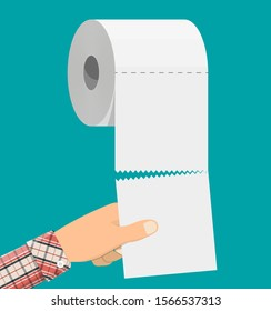 White roll of toilet paper and hand. Hank of paper for toilet. Vector illustration in flat style
