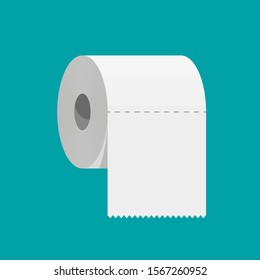 White roll of toilet paper. Hank of paper for toilet. Vector illustration in flat style