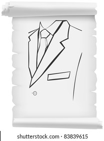 White roll with torn outline drawn male costume