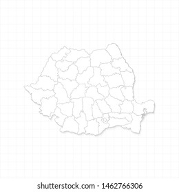 White Romania map and grid vector. Thin gray outline on white background. EPS10.