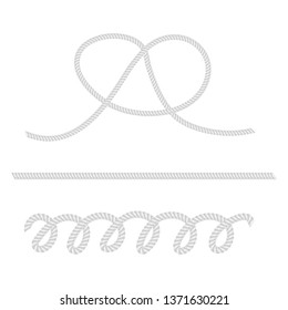 White ropes and knot mockup set. Fine quality. Vector design elements.