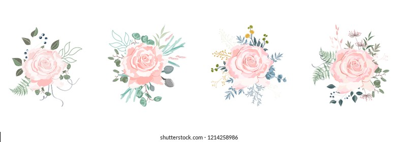 White rosa canina, garden flowers, berries, greenery and herbs vector set. White background for wedding save the dates.