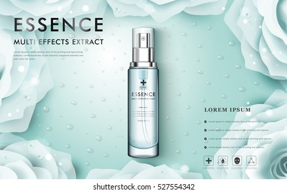 White rose or camellia cosmetic ads, spray bottle isolated on light blue background with water drop, 3D illustration