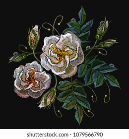 White roses embroidery. Template for design of clothes, t-shirt design, tapestry flowers renaissance style vector. Classical embroidery vintage roses on black background