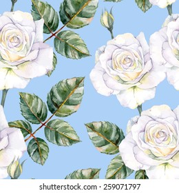 White roses seamless watercolor pattern