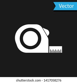 White Roulette construction icon isolated on black background. Tape measure symbol.  Vector Illustration