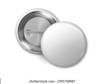 White round badge mockup. Pin button blank merchandise, realistic 3D metal labels design template sign. Vector name magnet badge
