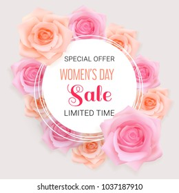 White round banner with pink, apricot photo realistic roses and text Sale Women's Day, Special offer, limited time on a light background. Elegant luxury vector design.