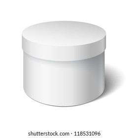 White round box isolated on white. Box with a lid. Gift Box