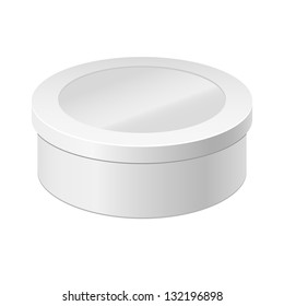 White round box isolated on white. Box with a lid and Window. Gift Box