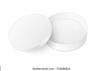 White round cardboard box with lid.