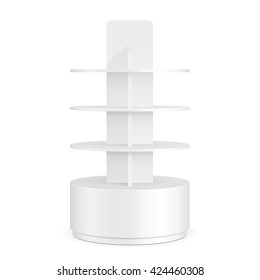 White Round Cardboard Floor Display Rack For Supermarket Blank Empty Displays With Shelves Products On White Background Isolated. Ready For Your Design. Product Packing. Vector EPS10