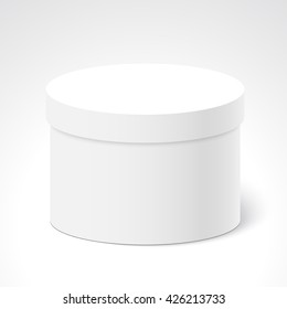 White round closed box. Package. Vector illustration.