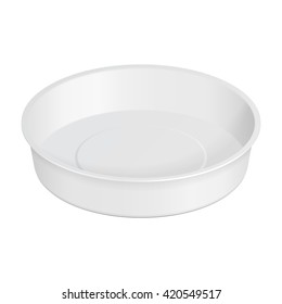 White Round Empty Blank Styrofoam Plastic Food Tray Container Box Opened, Cover. Illustration Isolated On White Background. Mock Up Template Ready For Your Design. Vector EPS10