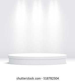 White round empty podium. Pedestal. Scene. Vector illustration.