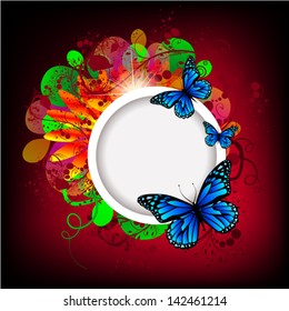 White round frame on a flower bright background with butterflies