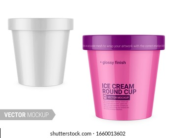 White round glossy ice cream cup. Photo-realistic packaging mockup template with sample design. High-angle shot. Vector 3d illustration.