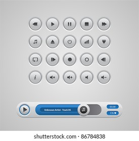 white round media player buttons and audio player isolated on background