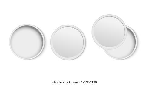 White round open empty box top view.