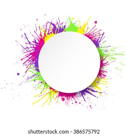 White round paper banner on colorful paint splashes background. Vector illustration.