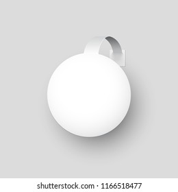 White round paper wobbler isolated on gray background. Vector design element.