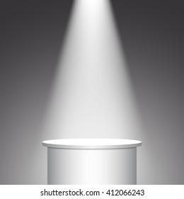 White round pedestal. Podium. Stand. Tribune. Spotlight. Vector illustration.