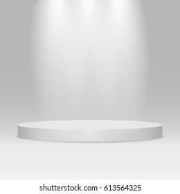 White round podium. Pedestal. 3D. Scene. Vector illustration.