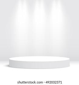 White round podium. Pedestal. Scene. Vector illustration.