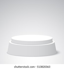 White round podium. Pedestal. Scene. Vector illustration.