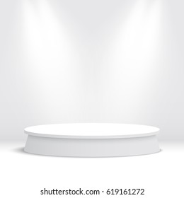 White round podium. Pedestal. Vector illustration.
