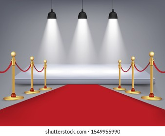 White round podium with red carpet and lights isolated on background. Vector illustration. Eps 10.