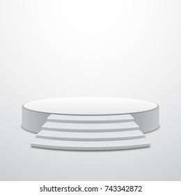 White round podium with stairs, vector design