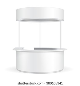 White Round POS POI Blank Empty Advertising Retail Stand Stall Bar Display With Roof, Canopy, Banner. On White Background Isolated. Mock Up Template Ready For Your Design. Product Packing Vector EPS10
