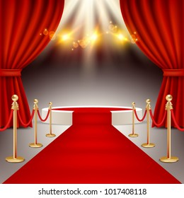 White round winners podium with red carpet, red curtains and spotlights. Vector realistic illustration. Red carpet event concept.