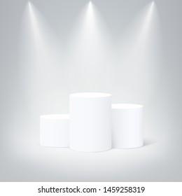 White round winners podium. Vector pedestal illuminated mockup isolated on gray background. Champion, first place, award, win, winner