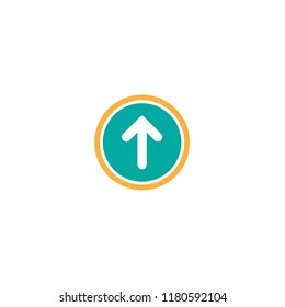 white rounded arrow up in blue circle icon. Isolated on white. Upload icon.  Upgrade sign. North pointing arrow.