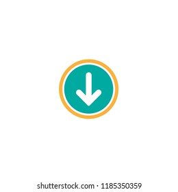 white rounded arrow down in blue circle icon.  flat download sign isolated on white. point down button. south sign.