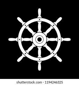 White rudder vector icon on black background