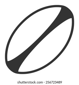 White rugby ball with stripes line art vector icon for sports apps and websites