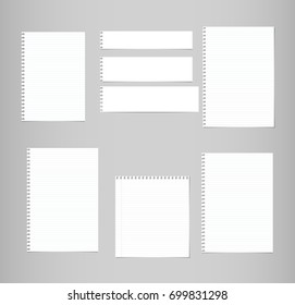 White ruled, lined note, copybook, notebook paper sheets stuck on grey background.