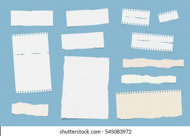 White ruled note, notebook, copybook paper sheets stuck on blue squared pattern