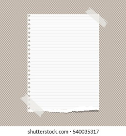 White ruled torn note, notebook, copybook paper sheet stuck with sticky tape on brown squared pattern