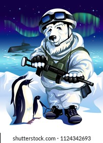 White Russian polar bear in the form of a soldier in the Arctic in the company of penguins on the background of the night starry sky and the Northern lights. Vector illustration.